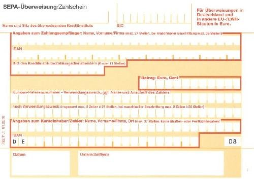 Überweisung / Zahlschein SEPA zum manuellen Ausfüllen - SD, 1 x 2 Blatt, DIN A6 quer(Liefermenge=100)