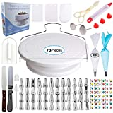 [73 pcs] Cake Decorating Supplies - Professional Cupcake Decorating Kit | Baking Supplies | Rotating Turntable Stand, Frosting, Piping Bags and Tips Set, Icing Spatula and Smoother, Pastry Tools