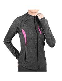 J. Carp Women's Running Yoga Workout Jacket, Full Zip, Two Side Pocket With Thumb Holes, Lightweight Moisture Wicking Coat