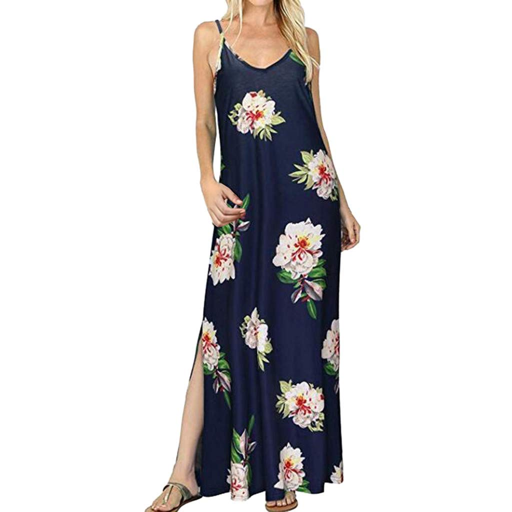 Dress for Women Sexy Ladies Summer Sleeve Sling V-Neck Strap Floral Printed Split Casual Straight Long Dress Plus Black