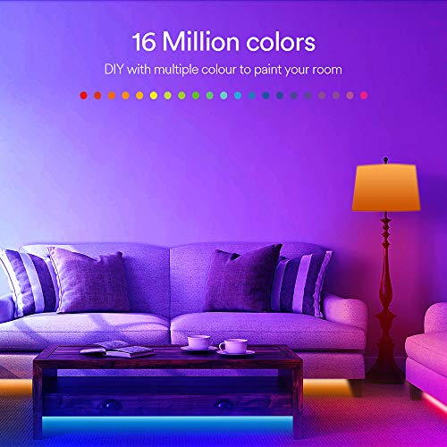 Smart WiFi LED Strip Lights - Lumary Color Changing Rope Lights Compatible with Alexa Google Home RGB Strip Light 16.4Ft Music Sync Phone Control for TV Bedroom Party Home Decoration