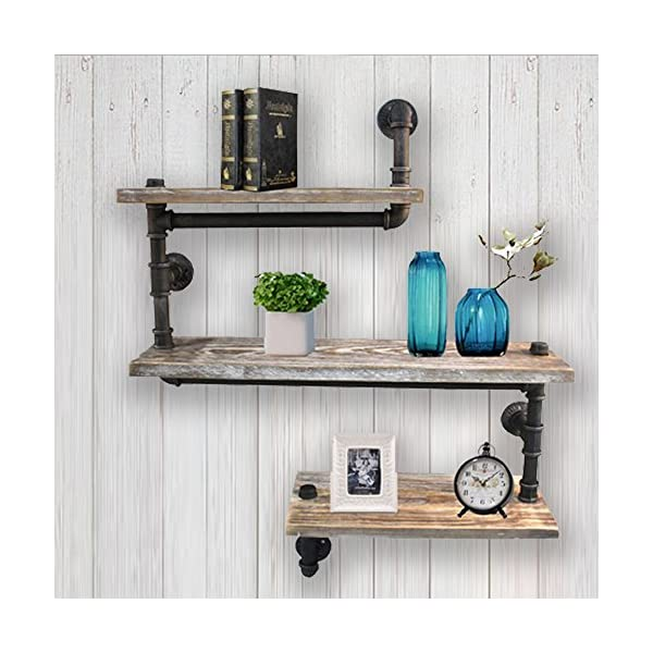 Reclaimed Wood & Industrial Heavy Duty DIY Pipe Shelf Shelves Steampunk Rustic Urban Bookshelf Real Wood Bookshelves and bookcases 4
