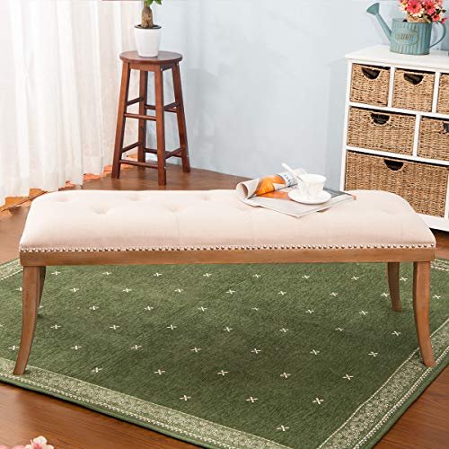 HARPER & BRIGHT DESIGNS Upholstered Button Tufted Bench with Solid Wood Legs and Nailhead Trim (Fabric Beige) by Harper & Bright Designs (Image #2)