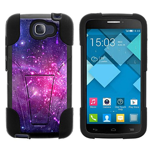 Alcatel One Touch Fierce 2 Case, Durable Hybrid STRIKE Impact Kickstand Case with Art Pattern Designs for Alcatel One Touch Fierce 2 7040T, Alcatel POP ICON A564C (T Mobile, Metro PCS, Straight Talk) from MINITURTLE | Includes Clear Screen Protector and Stylus Pen - Heavenly Stars