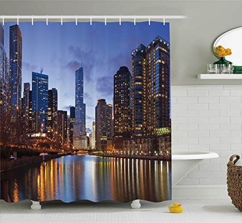 Ambesonne Contemporary Urban Cityscapes Americana Decor Collection, Chicago Riverside Bridge Scene Modern USA Boho City Prints, Polyester Fabric Bathroom Shower Curtain Set with ()