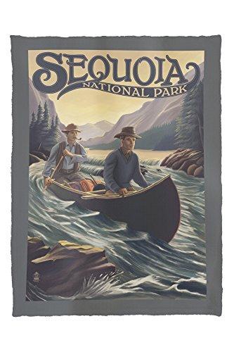 Sequoia National Park - Canoe in Rapids (60x80 Poly Fleece Thick Plush Blanket) - Sequoia Canoe