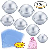 Metal Bath Bomb Mold Set 3 Sizes 7 Sets 14 Pcs- DIY Round Bath Bomb Molds Kit for Homemade- Extra Thick Aluminum Alloy- Easy to Use and Sturdy