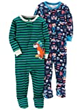 Carter's Baby Boys' 2-Pack Cotton Footed Pajamas, Tools/Tiger, 24 Months