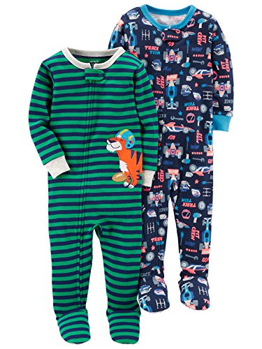 Carter's Baby Boys' 2-Pack Cotton Footed Pajamas, Tools/Tiger, 18 Months