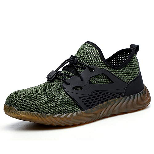 SUADEX Steel Toe Shoes for Women Men, Anti Slip Safety Shoes Breathable Lightweight Puncture Proof Work Construction Sneakers Green Size 9.5 Women / 8 Men
