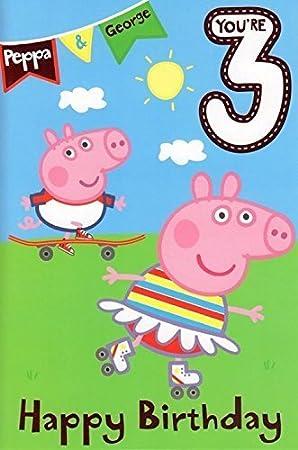Peppa Pig AÑOS 3 Tarjeta Cumpleaños: Amazon.es: Juguetes y ...