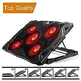 Pccooler Laptop Cooling Pad, Laptop Cooler with 5 Quiet Red LED Fans