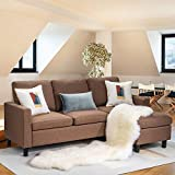 Walsunny Convertible Sectional Sofa Couch with Reversible Chaise, L-Shaped Couch with Modern Linen Fabric for Small Space (Coffee/Brown)