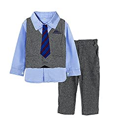 Big Elephant 4 Pieces Baby Boys Shirt Vest Pants Tie Outfit Party Set D40 (2-3 years)