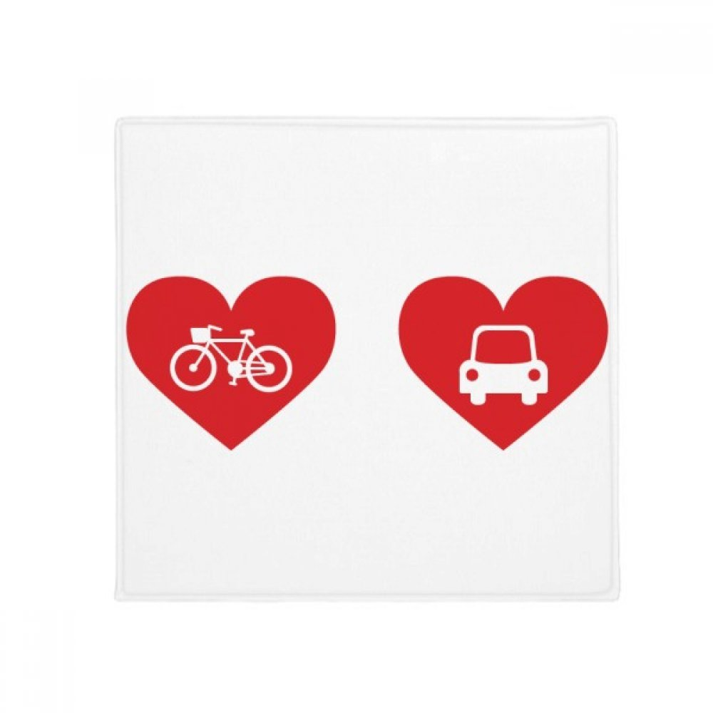 DIYthinker Bicycle Car Red Heart Pattern Anti-Slip Floor Pet Mat Square Home Kitchen Door 80Cm Gift