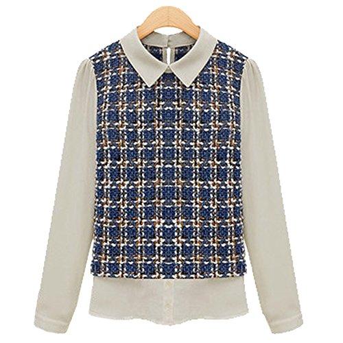 LOBZON - Camisas - Rayas - Clásico - para mujer Azul