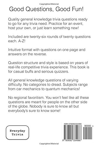 Quizmaster Chloe's Trivia A-Z Volume I: 26 rounds of questions for