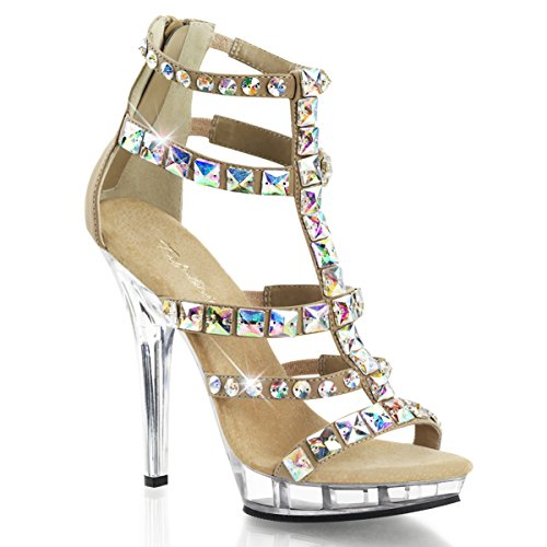Womens Rhinestone Embellished Nude and Clear Cage Sandals Shoes with 5'' Heels Size: 11