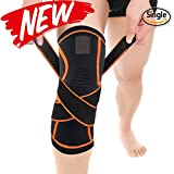 Knee Brace, Compression Knee Sleeve with Adjustable Strap for Pain Relief, Meniscus Tear, Arthritis, ACL, MCL, Quick Recovery - Knee Support for Running, Basketball, CrossFit by HBirdPc (M)