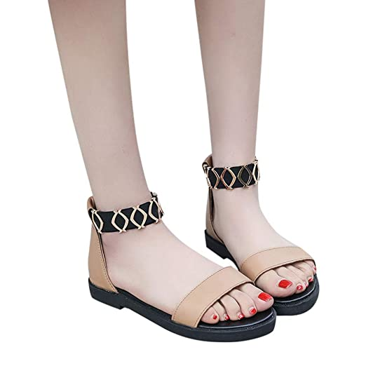 1b3493eb6d4 BSGSH Flat Thong Sandals with Metal Decor Strap Comfort Summer Shoes for Women  Girls (5