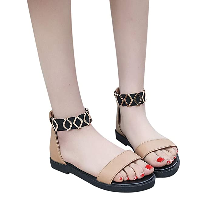 d195a874011958 Outtop(TM) Women s Summer Flat Sandals Ladies Fashion Casual Elastic Band  Low Heels Work