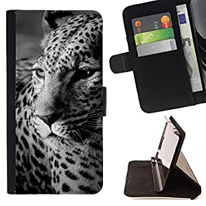 - Leopard Print Fur Black White Cute Feline/ Personalized Design Custom Style PU Leather Case Wallet Flip Stand - Cao - For Samsung Galaxy J3