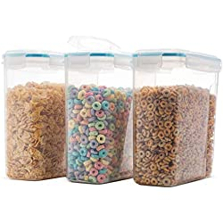 Komax Biokips, The Original Airtight Cereal Storage Container, 4 Side Locking Lid, Watertight - Bpa-Free Plastic - Great Dry Food Dispenser for Flour Sugar - 16.9 Cup 135.5 Ounce. Set of 3