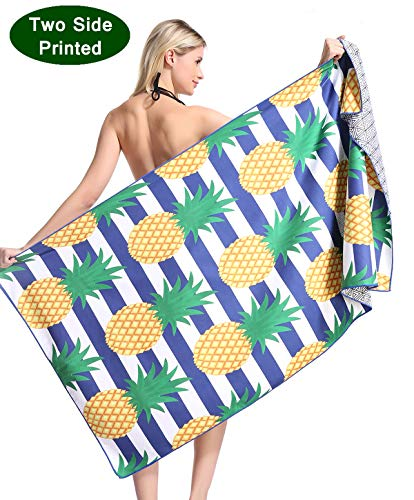 - Pineapple Microfiber Pool Beach Towel - Quick Fast Dry Sand Free Proof Oversized Extra large Big Outdoor Travel Rack Swim Micro Fiber Blanket Thin Yoga Mat Personalized Women Adults Body Funny Fruit