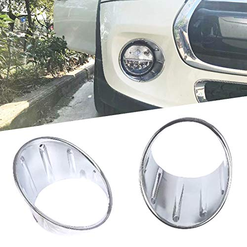 Huanlovely: New 2X Chrome Front Fog Light Covers Trims for 3rd Gen Mini Cooper F55 F56 F57 Car Sticker Auto Exterior Accessories Silver