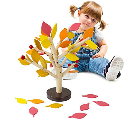Agirlgle Creative Wood Building Blocks Tree Set for Kids Children Men Preschool Boys and Girls DIY Learning Educational 3D Wooden Assembled Toys Tile Game —Home