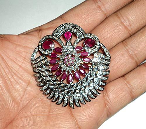 (3.10Ctw Rose Cut Diamond Brooch - Pave Diamond Brooch - 925 Sterling Silver Brooch - Diamond 925 Silver Brooch- Ruby diamond Brooch Cum Pendant)