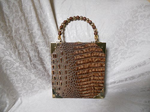 (Cigarbox Purse, Italian Embossed Alligator Leather, Tina Marie Purse, Rust, Neutral, Brown,)