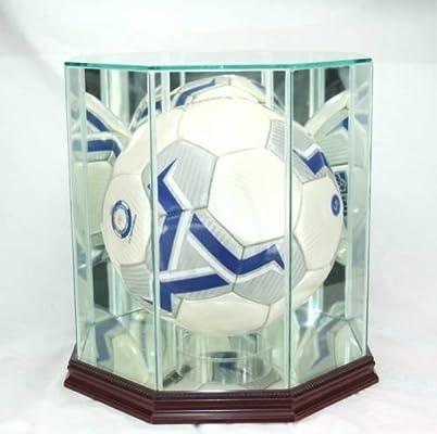 Cristal de balón de fútbol Vitrina con Madera de Cerezo moldura ...