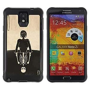 """Pulsar iFace Series Tpu silicona Carcasa Funda Case para SAMSUNG Galaxy Note 3 III / N9000 / N9005 , Cráneo de la muchacha Reflexión Significado Profundo"""""""