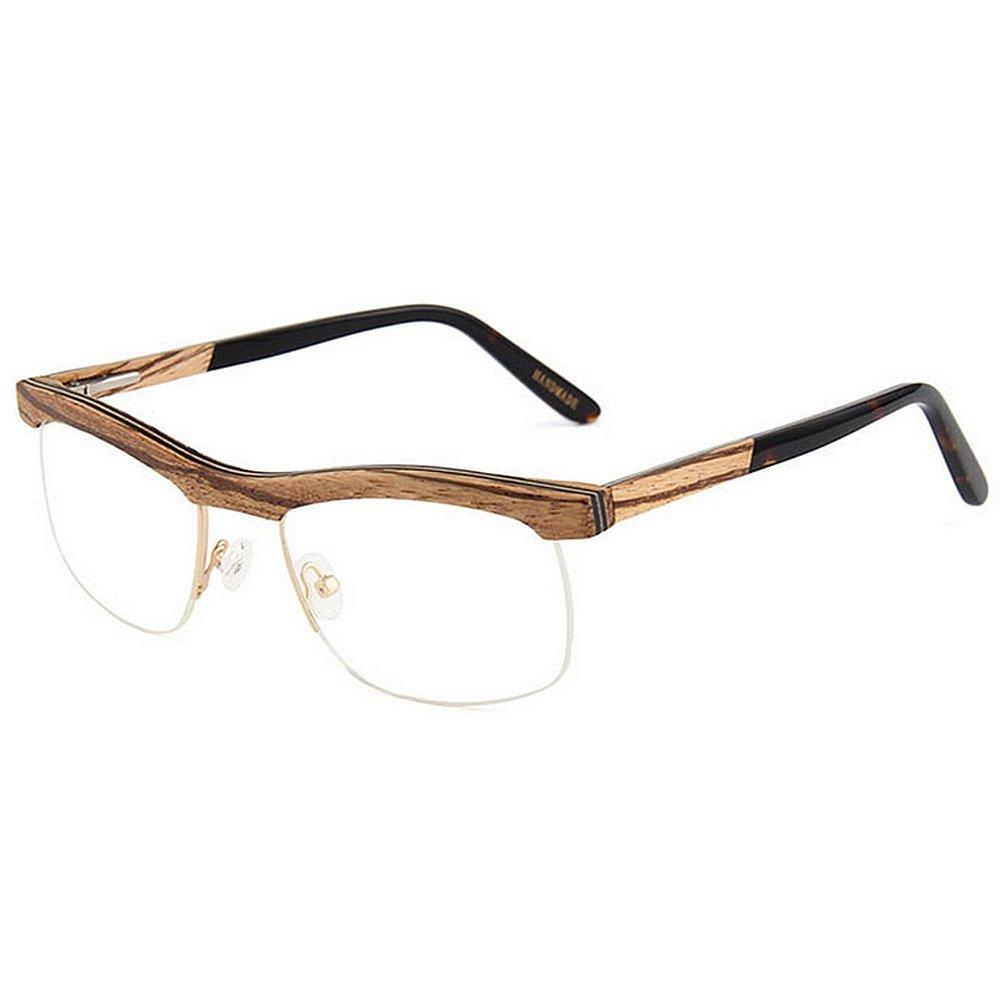 e6c2652f03 Adult Eyewear Gafas semi-sin montura de madera hechas a mano de alta  calidad para hombres Gafas cuadradas clásicas Gafas artísticas Gafas sin  montura de ...