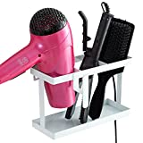 MyGift Metal Wall Mounted or Countertop Hair Accessory Organizer Caddy, Blow Dryer & Flat Iron Holder, White