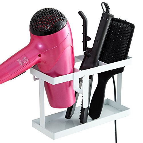 MyGift Metal Wall Mounted or Countertop Hair Accessory Organizer Caddy, Blow Dryer & Flat Iron Holder, White by MyGift
