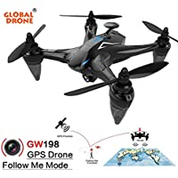 [Global Drone] GW198 Wide-angle HD Camera 5G WIFI Follow Me Ray Brushless Motor RC Quadcopter (Blue)