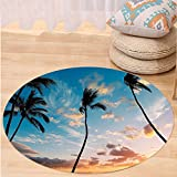 Niasjnfu Chen Custom carpetPalm Tree Decor Sunset Trees in Hawaii Tropical Paradise with Bright Sky Dreamy Picture for Bedroom Living Room Dorm Blue Orange