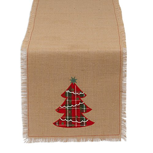 DII 100% Jute, Holiday Embroidered Tree, 14 x 72 Fringe Burlap Table Runner