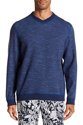 Tommy Bahama Reversible Sweatshirt - Tommy Bahama Flipsider V-Neck Pullover, Dockside Blue Heather (XX-Large)