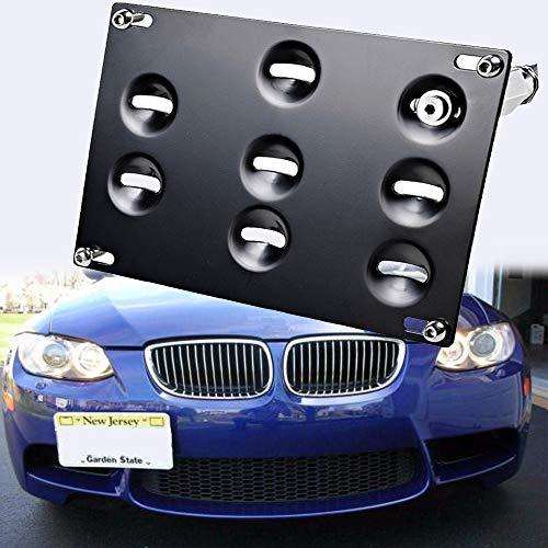 SIZZLEAUTO Front Bumper Tow Hook License Plate Bracket Relocator for BMW 98-11 E46 E90 3-Series 4DR, 07-13 E92 E93 2DR Coupe 325i 328i 335i M3, 1/3/5 Series E82 E88 E70 E71 X5 X6 128i 135i 1M
