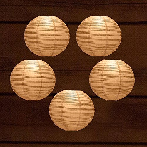 Quasimoon PaperLanternStore.com (5-Pack) 12 Inch White Fine Line Premium Even Ribbing Paper Lantern, Extra Sturdy ()