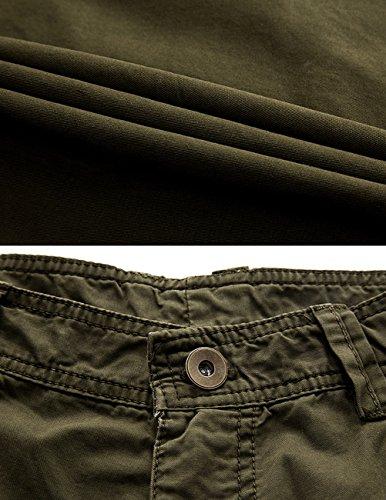 Menschwear Hombres Bermuda Cortos Pantalones Cargo Verano Cortos Deporte Shorts Playa Cortos Multi-bolsillo con cinturón (38,Army-Verde)