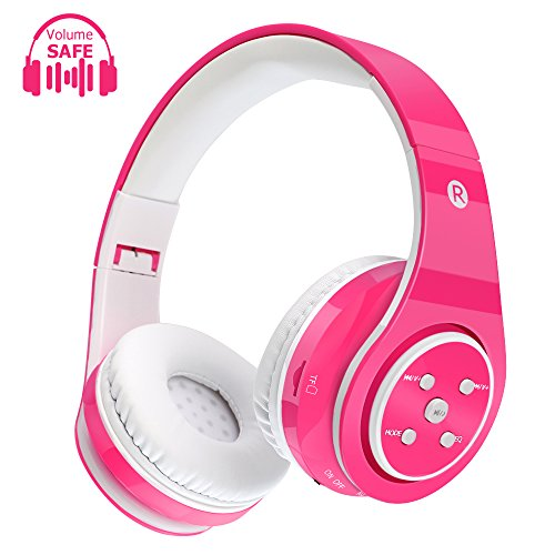 Kids Wireless Headphones Bluetooth Safe Volume Limited Kids Headphones,Long Playing Time 7-9h,SD Card Slot,Stereo Sound, Hands Free Caall,Compatiable for Ipad Cellphone Pc Tablet (Pink)