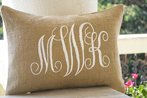 (Amore Beaute Handcrafted Customizable Burlap Monogram Pillow Covers -Custom Lumbar Monogram Pillow Cursive Three Letters Monogram Pillows- Initial Cushion Covers- Dorm Decor - Valentine Pillow)