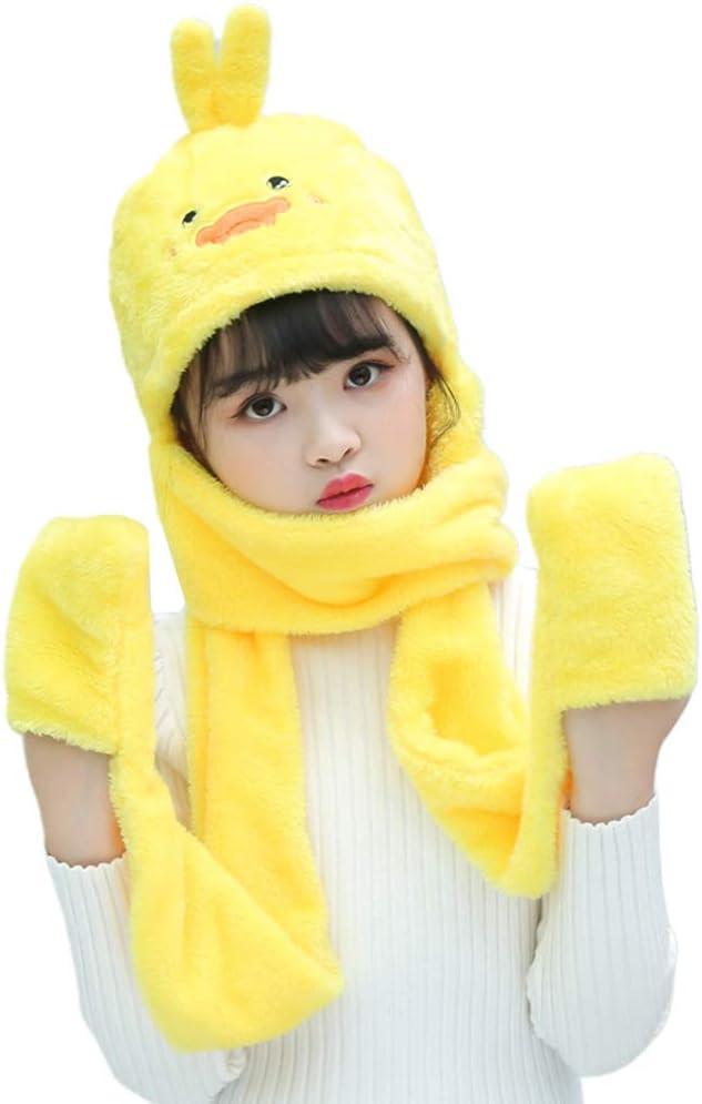 MIKI-Z Unisex 3 in 1 Kids Scarf Hat Gloves Thick Plush Animal Pattern Hoodie Earflap