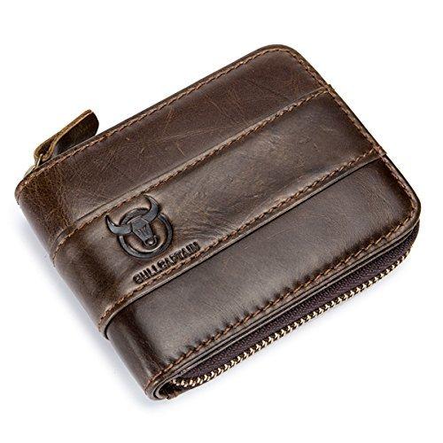 bullcaptain RFID AntimagneticヴィンテージGenuineレザー11カードスロットコインバッグ財布メンズ B07D4H5B7D