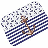 WSHINE 19.7'' 31.5'' Stripe Nautical Anchor Bathroom Mats Doormat Kitchen Mat Non-Slip Backing Extrance Mats Window Room Runner Rug