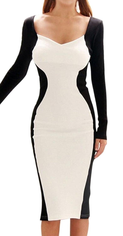 Lecheers Frauen Sexy Kleid Low-Cut langarm Abendkleid ...